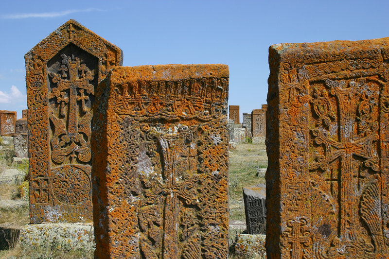 Khachkars (armenian cross stones) in Noratous.  royalty free stock photos