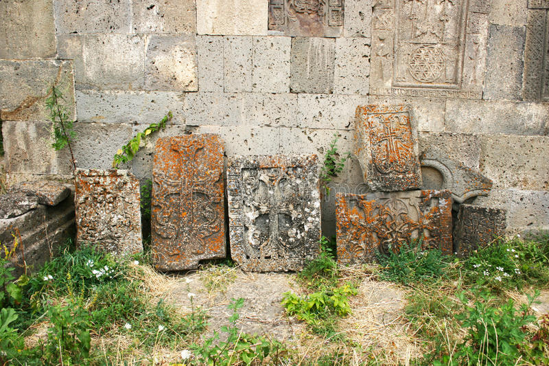 Khachkars or cross-stones royalty free stock photography