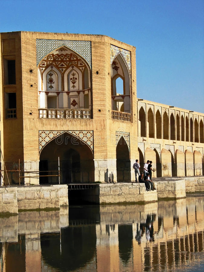 Khaju Bridge in Esfahan stock images