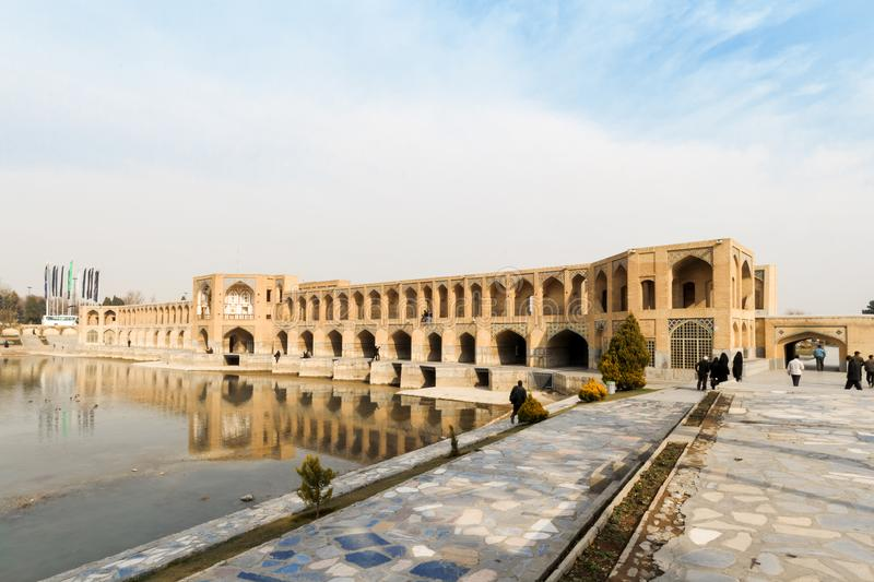 Khaju Bridge, Isfahan City, Central Iran, Persia royalty free stock photo