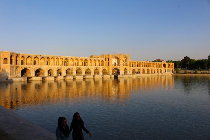 Khaju Bridge in Isfahan, Iran royalty free stock photos