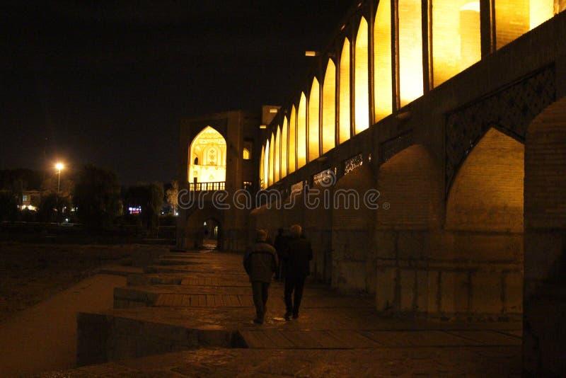 Khaju most w nocy fotografia stock