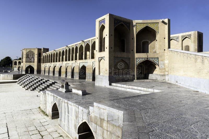 Khajubrug, betwistbaar de fijnste brug in de provincie van Isphahan, Iran stock afbeelding