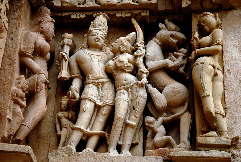 Khajuraho - de Plaats van de Erfenis van de Wereld van India royalty-vrije stock afbeeldingen