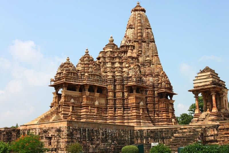 Khajuraho tempel och deras erotiska skulpturer, Indien fotografering för bildbyråer