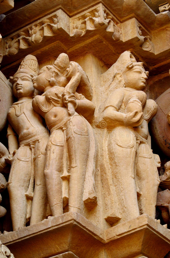 Free Khajuraho Temple Group Of Monuments In IndiaSandstone Sculptures In Khajuraho Temple Group Of Monuments In India Royalty Free Stock Images - 45180919