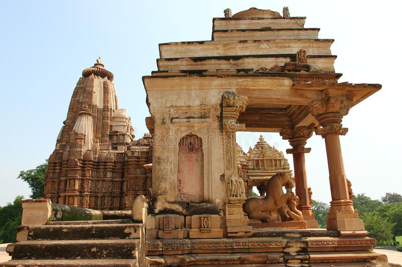 Khajuraho temples and their erotic sculptures, India stock photo