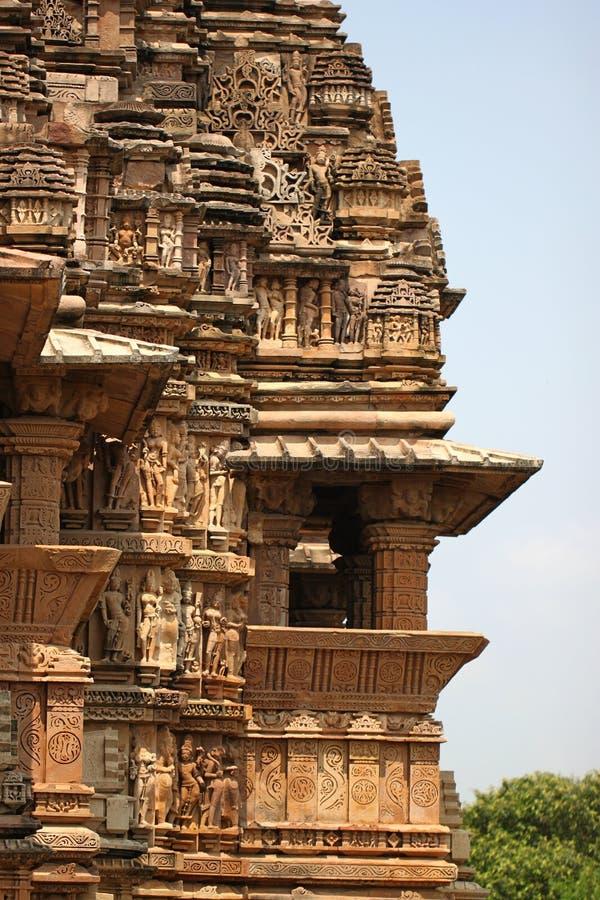 Khajuraho temples and their erotic sculptures, India. Khajuraho, India has manyl Hindu temples, famous for their erotic sculptures stock image