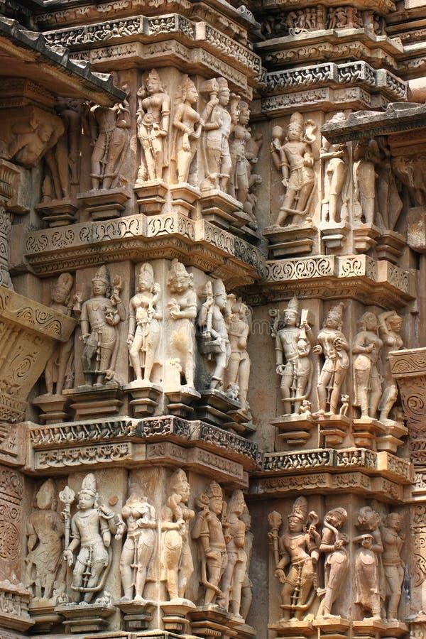 Khajuraho temples and their erotic sculptures, India. Khajuraho, India has manyl Hindu temples, famous for their erotic sculptures royalty free stock images