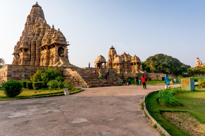 Khajurao-Tempelkomplex in Indien lizenzfreie stockfotos