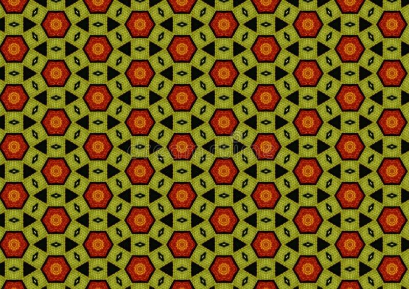 Khaki Green Black Red Pattern stock images