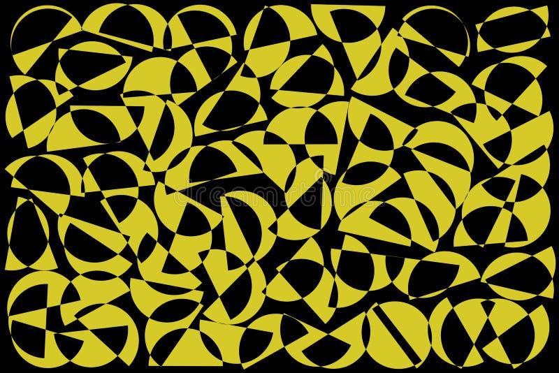 Khaki i czarny przypadkowy półkola tło Abstrakcjonistyczny geometryczny kszta?ta wz?r w retro stylu dla tkanina druku, tkanina, w ilustracji