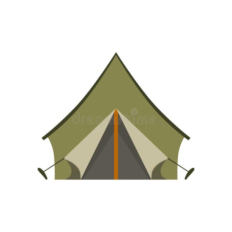 Khaki Tarpauline Camping Tent vector illustration