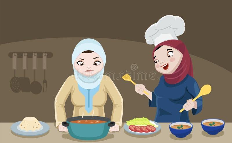 Khaliji damy W kuchni ilustracji
