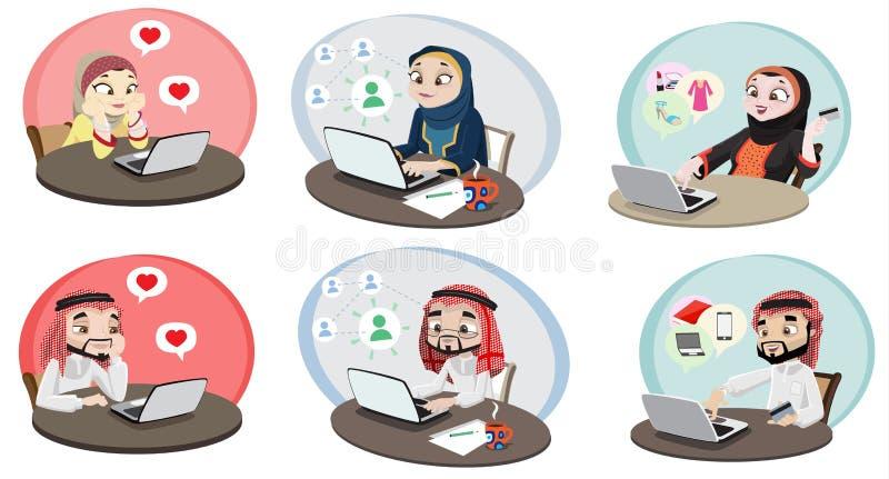 Khaliji-Leute, die das Internet 2 verwenden lizenzfreie abbildung