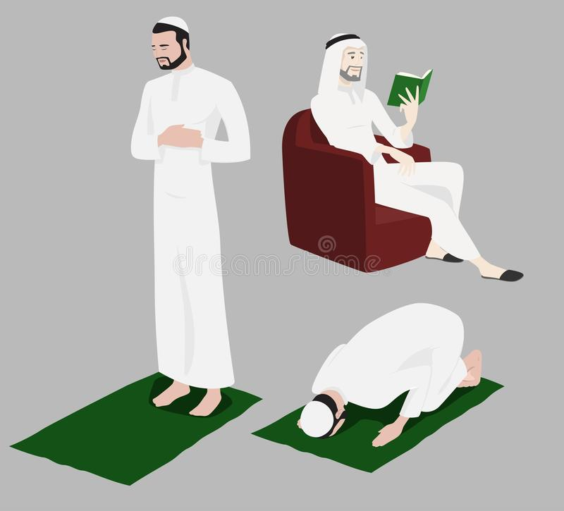 Khaliji Männer, die fromme Rituale tun lizenzfreie abbildung