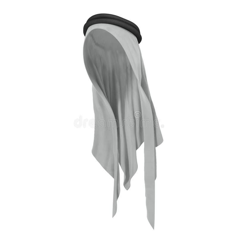 Khaliji ou keffiyeh árabe tradicional do chapéu Chapéu muçulmano isolado no branco ilustração 3D ilustração do vetor