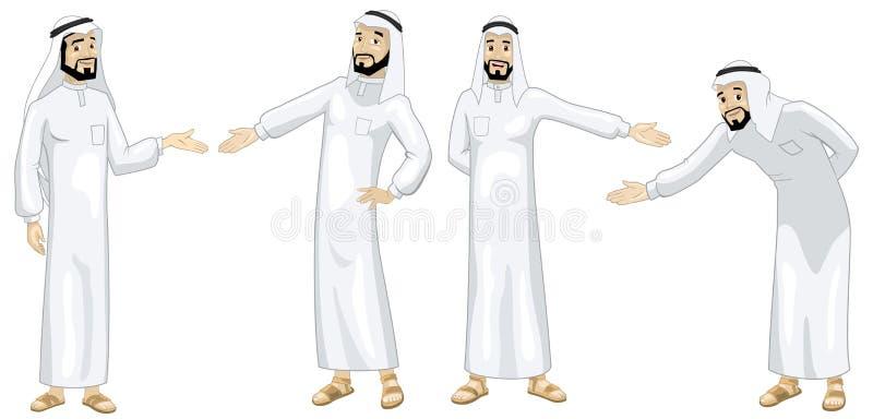 Khaliji que dá boas-vindas a homens ilustração royalty free