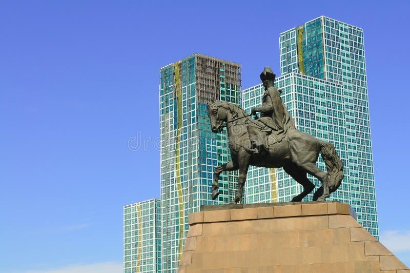 Khan. Monument of Kenesary Khan in Astana stock image