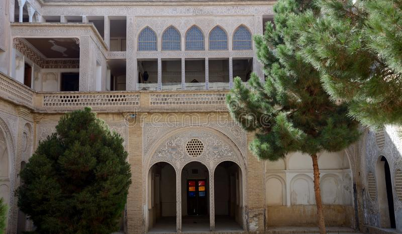 Khan-e Abbasian, Kashan, Iran. Khan-e Abbasian is an old historical mansion in Kashan royalty free stock photos