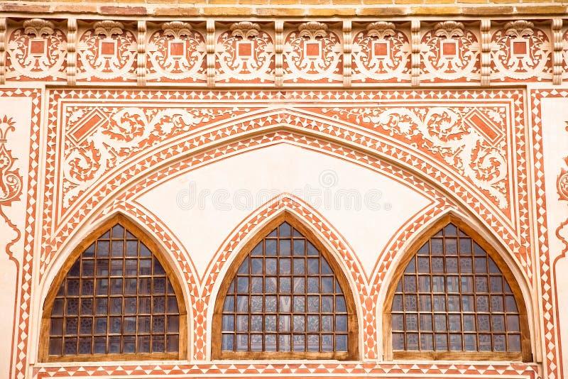 Khan-e Ameriha有历史的房子Windows  免版税库存图片
