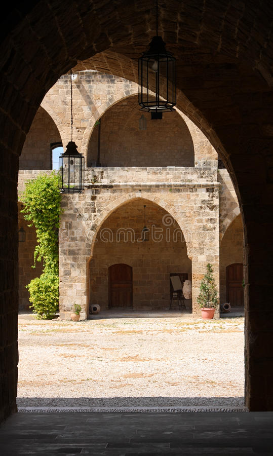 Khan el Franj, Sidon (Lebanon). Looking out onto the courtyard of the old Khan now a major tourist attraction in Sidon, Lebanon royalty free stock image