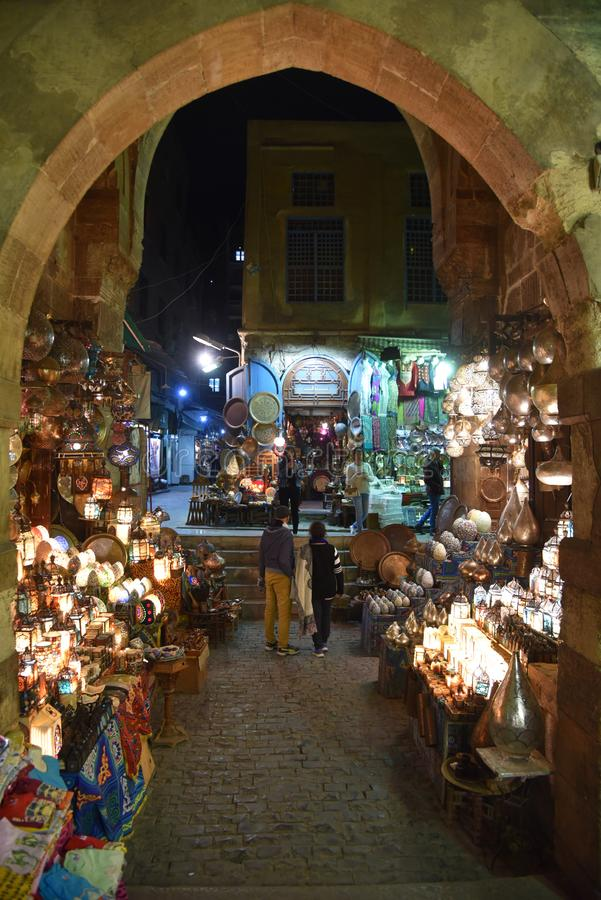 Khan El-Khalili eastern bazaar. A Brief History of Khan El Khalili. Located in the Islamic district of Cairo, Khan El Khalili bazaar was originally built to royalty free stock photography