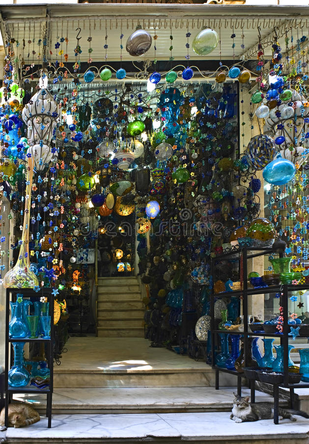 Khan el-Khalili glass shop. Main entrance of a Khan el-Khalili glass shop stock photos