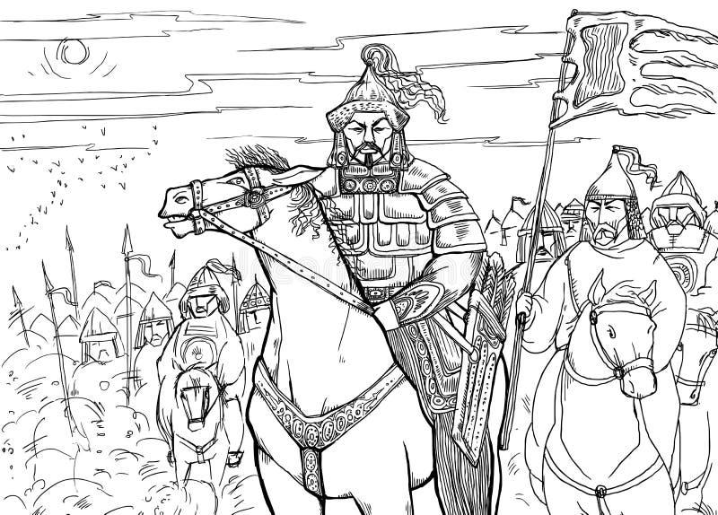 Khan Mongolian-nomade op horseback en zijn horde royalty-vrije illustratie