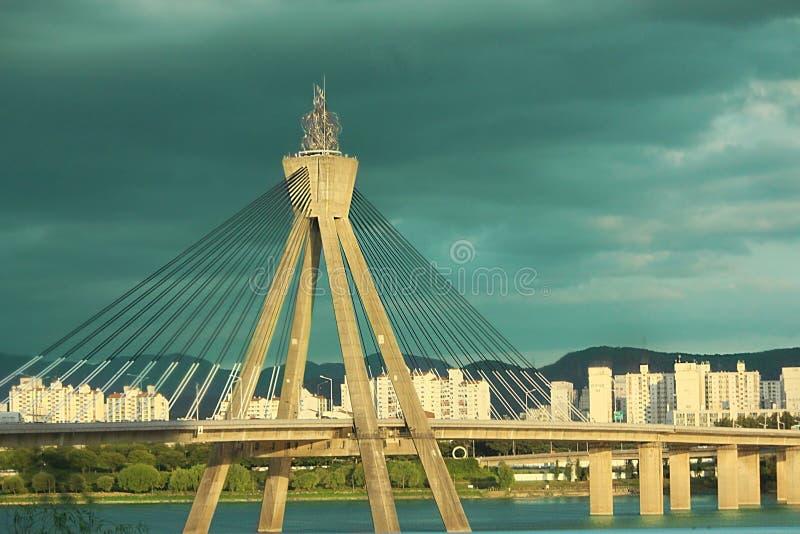 Khan River Bridge south Korea,seoul travel. South Korea city Seoul travel, life Khan River Bridge skyline stock photo