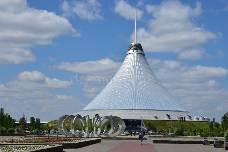 Khan SHATYR cuplola w Astana zdjęcia stock