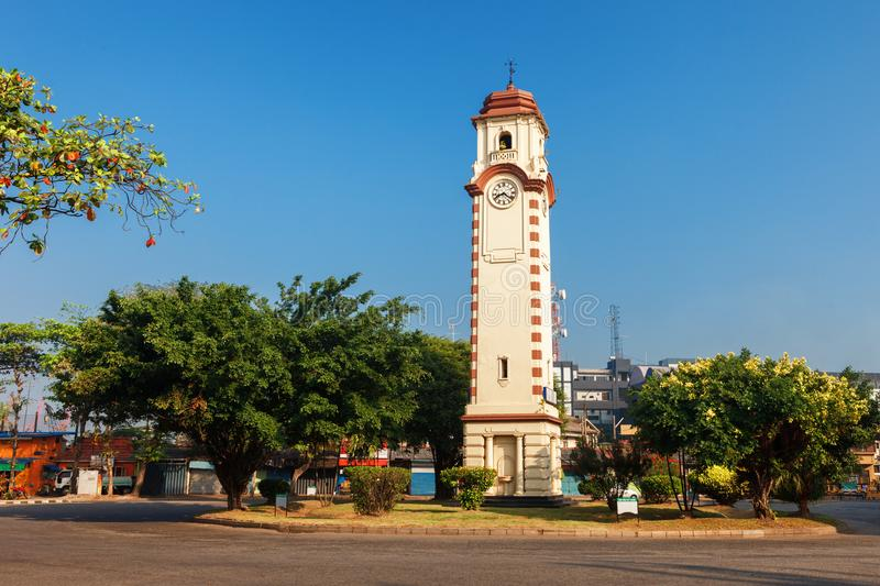 Khan or Wimaladharma Clock Tower, Colombo, Sri Lanka. Colonial Dutch architecture. Khan Wimaladharma Clock Tower, Colombo, Sri Lanka. Located near Dutch fort in royalty free stock images