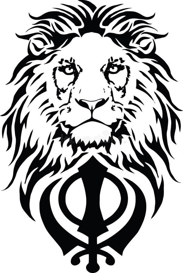 Khanda est le symbole le plus significatif de Sikhisme, d?cor? d'un lion illustration libre de droits