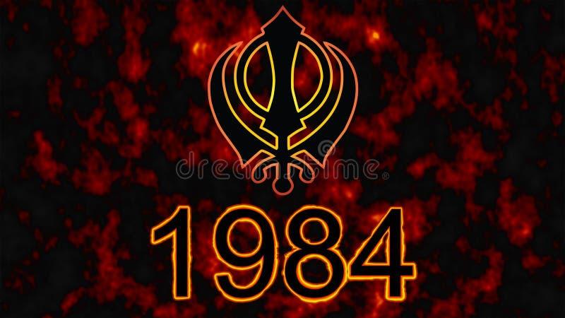 Khanda jest symbolem Sikhism Tragiczna data dla wszystkie Sikhs -1984 ogienia w tle royalty ilustracja