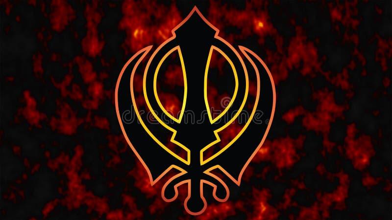 Khanda jest symbolem Sikhism Tragiczna data dla wszystkie Sikhs -1984 ogienia w tle ilustracji