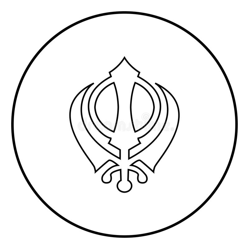 Khanda symbolu sikhi znaka ikony czerni koloru wektorowy ilustracyjny prosty wizerunek royalty ilustracja