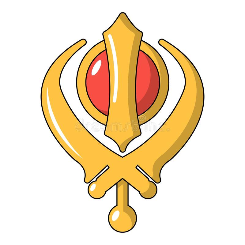 Khanda symbolu sikhism religii ikona, kreskówka styl royalty ilustracja
