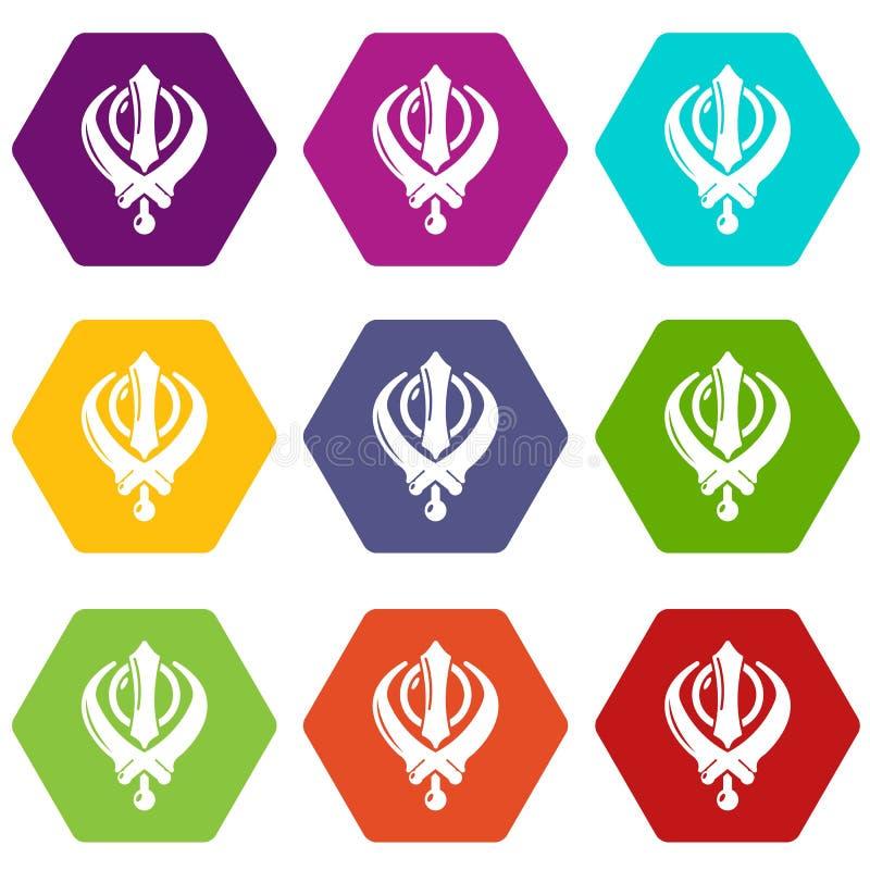 Khanda symbolu sikhism religii ikony ustawiają 9 wektor ilustracji