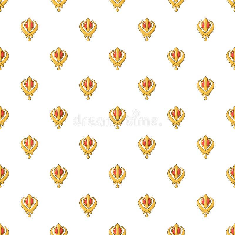 Khanda symbolu sikhism religii wzór bezszwowy ilustracji
