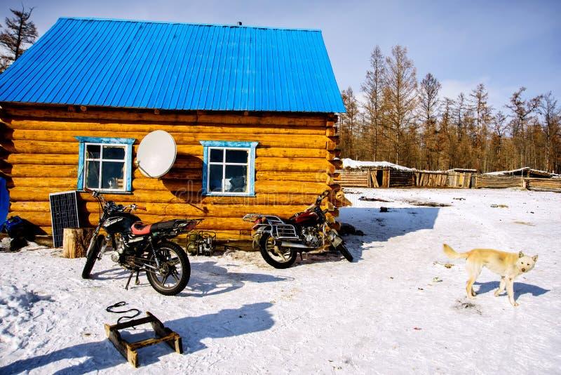 Khanh, Mongolië, Febrary, 24, 2018 Twee motorfietsen, slee en hond in de winter dichtbij blokhuizen met blauw dak stock foto