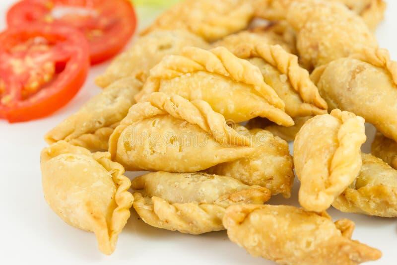 Khanom双关语Klib Tord (被充塞的Deep fried miced鸡包裹了i 库存照片