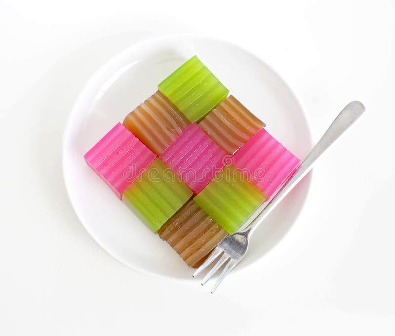 Khanom Chan eller thailändsk sweetmeat är en kind av den söta thailändska efterrätten arkivbild