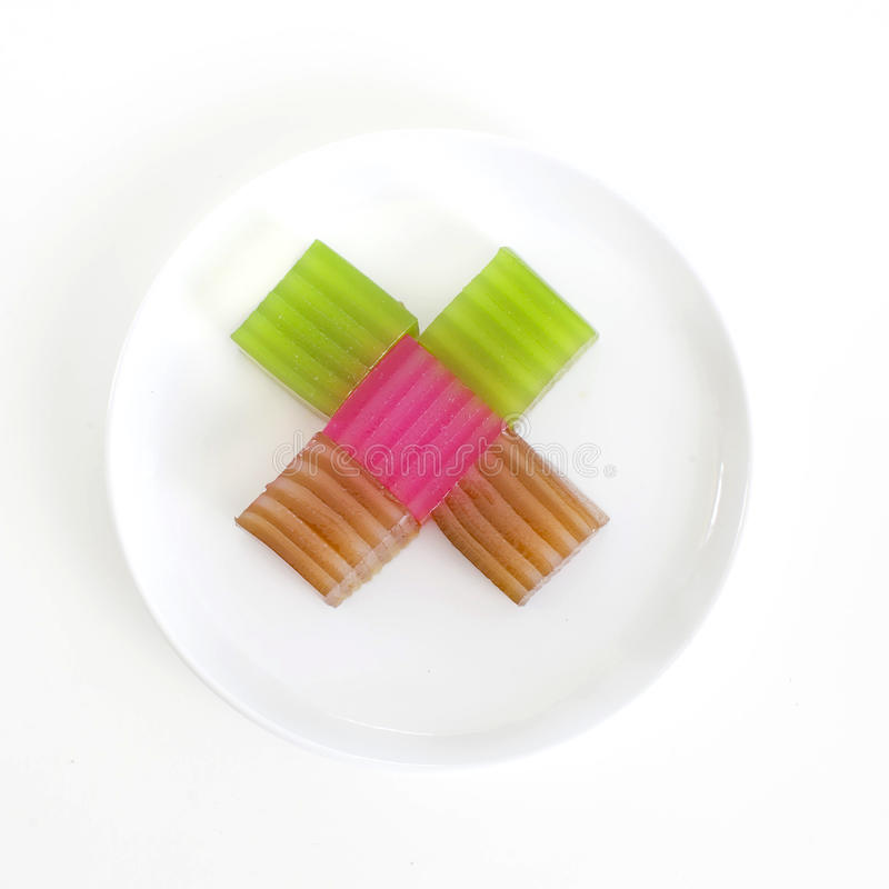 Khanom Chan eller thailändsk sweetmeat är en kind av den söta thailändska efterrätten fotografering för bildbyråer