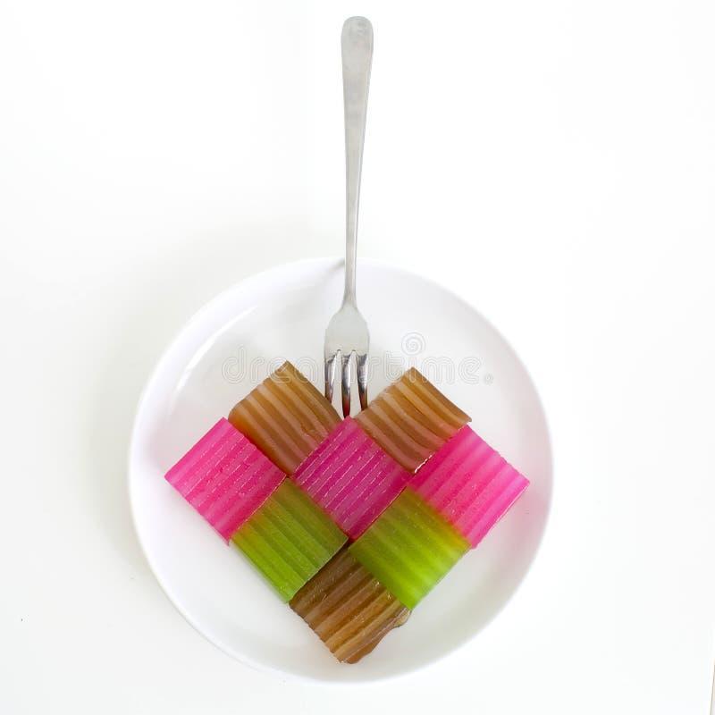 Khanom Chan eller thailändsk sweetmeat är en kind av den söta thailändska efterrätten H arkivbilder