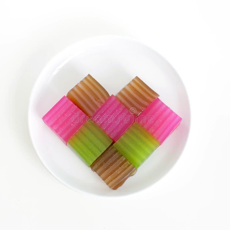 Khanom Chan eller thailändsk sweetmeat är en kind av den söta thailändska efterrätten H royaltyfria foton