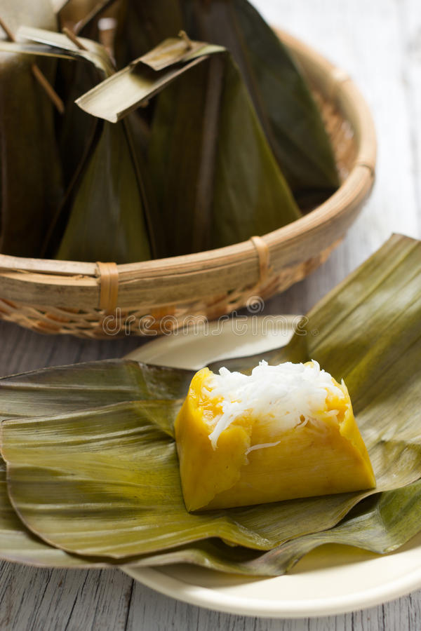Khanom Sod-Sai. Steamed Flour with Coconut Filling, Thai dessert stock photography