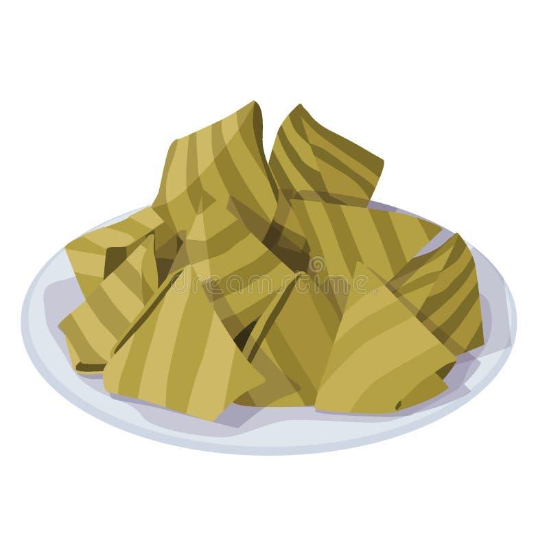 khanom torvtäcker sai som det thai namnet ångade mjöl med kokosnöten vektor illustrationer