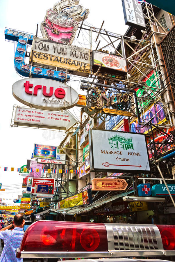 Khao圣路,曼谷。 编辑类照片