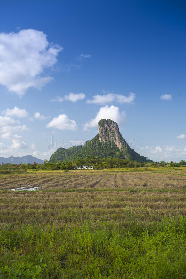 Khao Aok talu. Mountain is landmark in Phatthalung province name Khao Aok talu The Hole Mountain royalty free stock photos