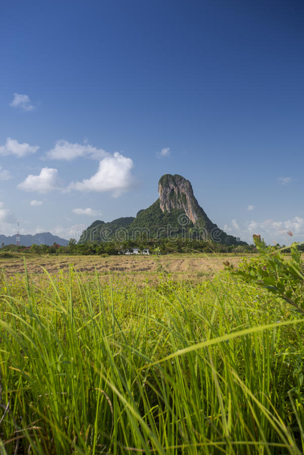 Khao Aok talu. Mountain is landmark in Phatthalung province name Khao Aok talu The Hole Mountain stock photography
